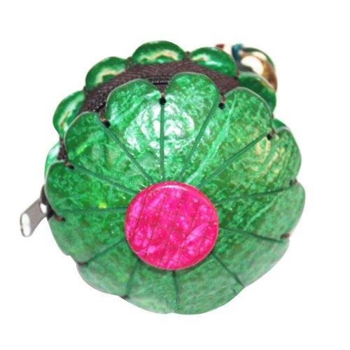 Coin Wallet Waterproof Change Purse Pouch Wallet with Zipper Flower Shape Green
