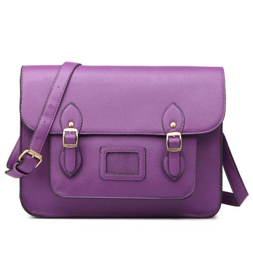 Miss Lulu School Bag Cross Body Messenger Shoulder Satchel PU Leather Purple