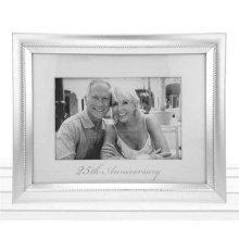Beaded 25th Anniversary Photo Frame In Matt silver