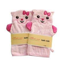 [Set of 2] Durable Soft Cute Baby/Kids Bath Sponge/Mitt/Gloves, PINK Cats