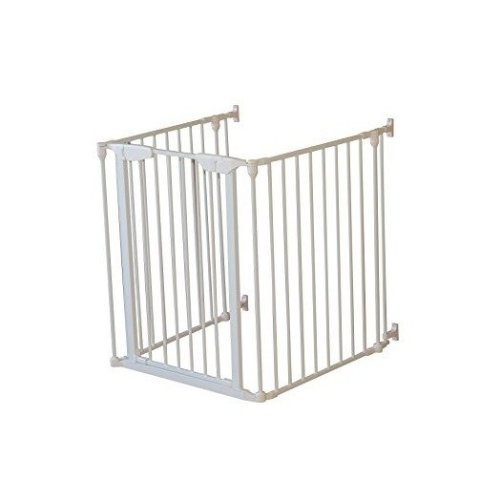 Pawhut 3 Panel Safety Gate Dog Kids Barrier Folding Protector Home Doorway Room Divider Stair Fire Guard - White