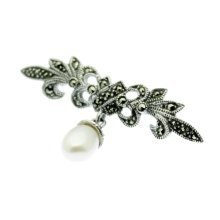 Marcasite & Pearl Brooch - White Freshwater Pearl - Sterling Silver