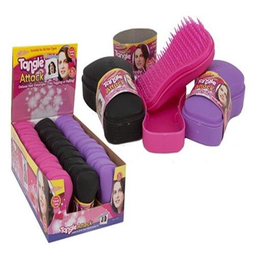 Detangling Hair Brush Assorted Colours -  tangle brush design hair detangler attack toiletry wash bag deluxe
