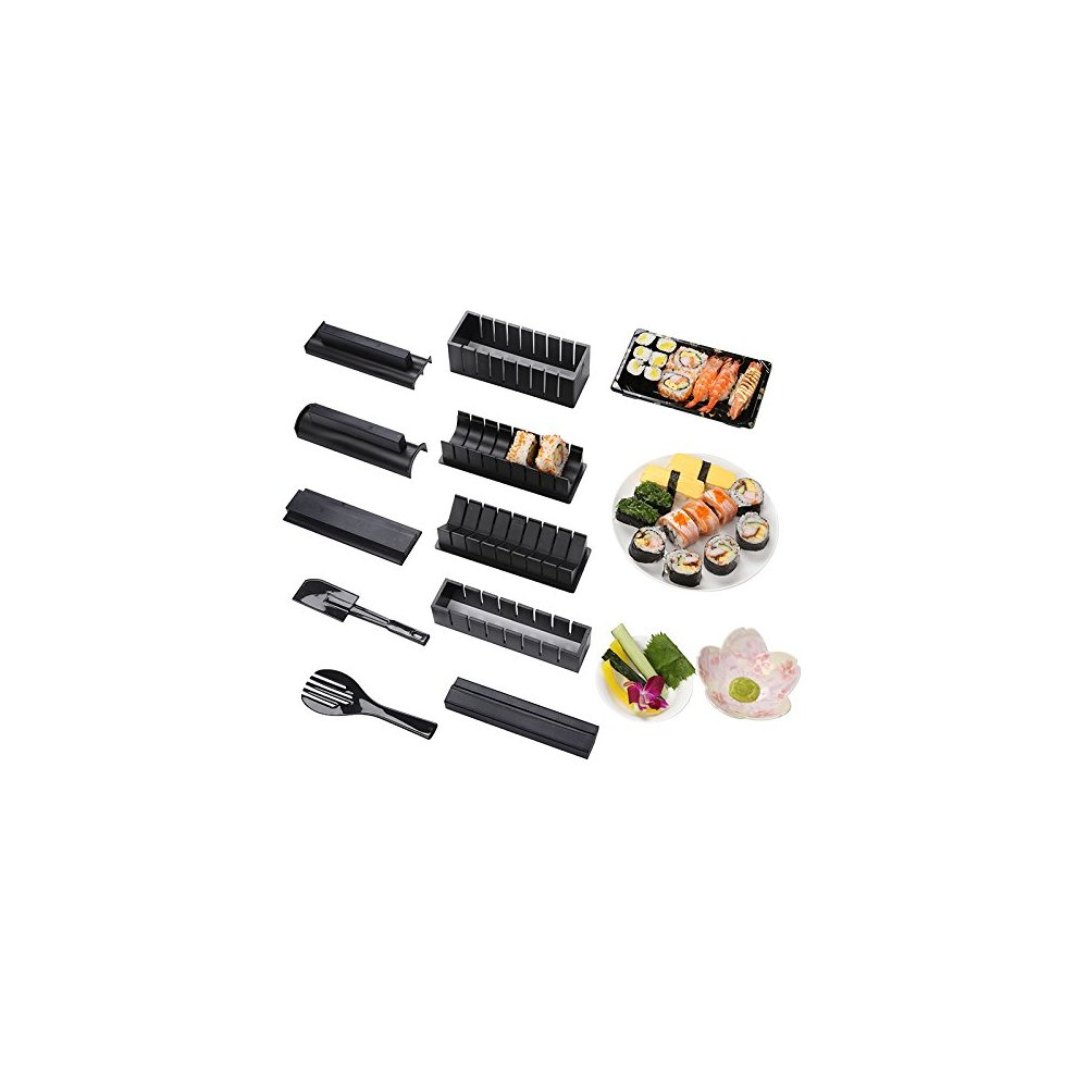 Sushi Maker Kit, DIY 10 pieces Plastic kit Sushi Tool Set Rice Cake Roll  Mold Sushi Multifunctional Mould Suit