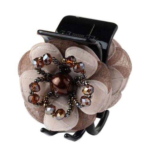 [Coffee] Pretty Flower Fabric Hair Claws Hair Barrettes Claw Clips