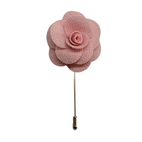 Baby Pink Handmade Flower/Rose Lapel Pin for wearing with men's suit jacket, blazer, dinner jacket or tuxedo jacket