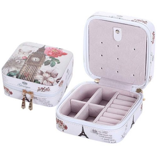 Small Jewelry Box Rings Earrings Necklace Organizer Display Storage Case for Travel, E