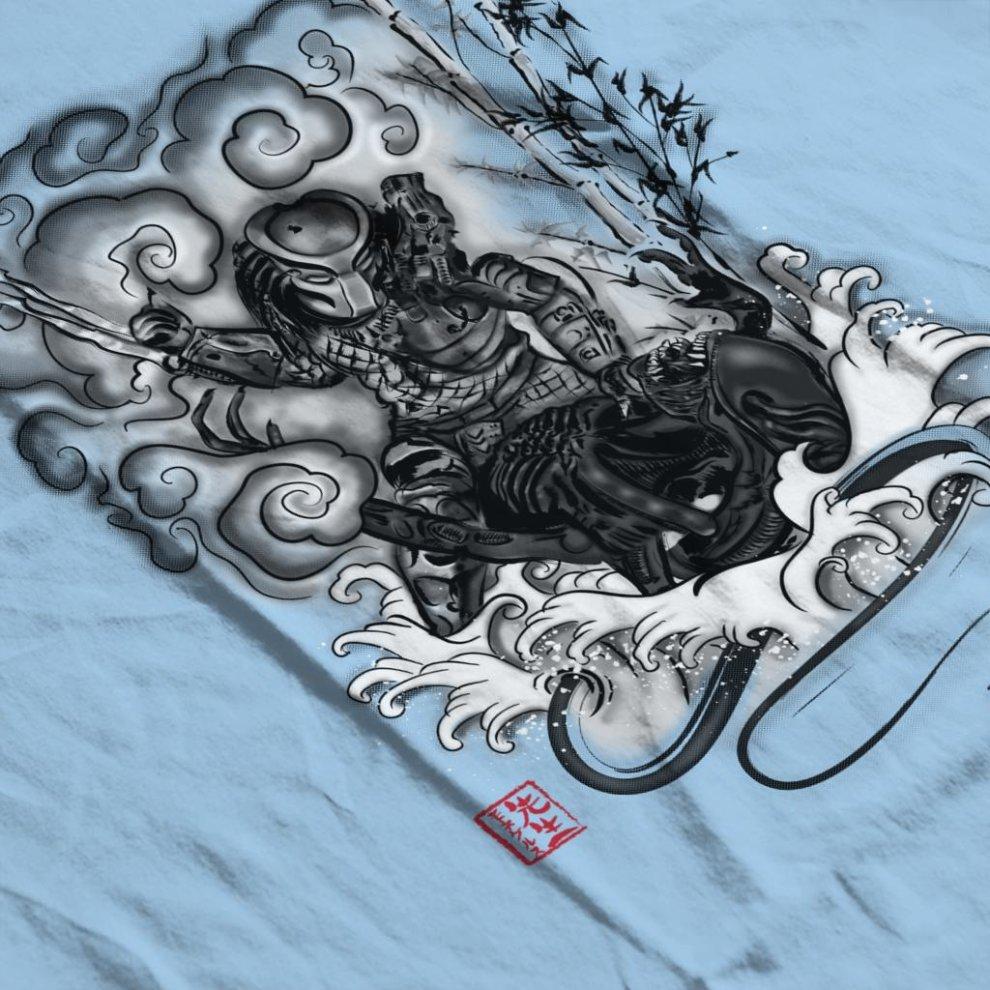 7ab2e023 ... Hunter And The Demon Japan Alien Vs Predator Men's Baseball Long  Sleeved T-Shirt -