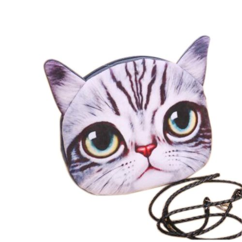 2 Pieces Of Cute Cartoon Grey Cat Child Messenger Bag/Purse