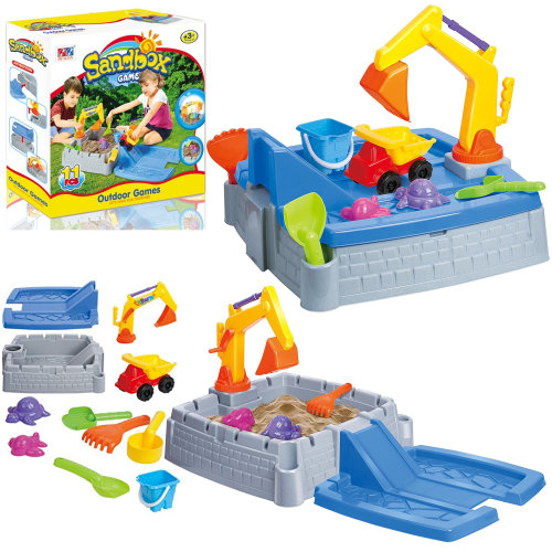 2 in 1 Kids Sand Box Water Table with Truck & Crane