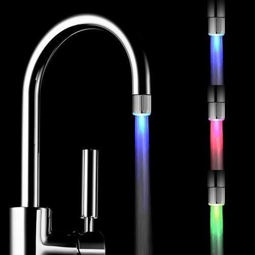 2 pack Colorful LED Water Faucet with 3 Colors Changing Temperature Control, RC-F03 Water Stream Faucet Tap for Kithen and Bathrooms.
