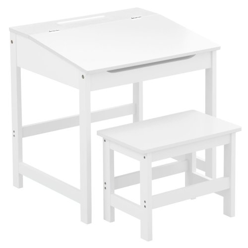 Children'S Desk And Stool White Sturdy MDF Suitable Kids Room