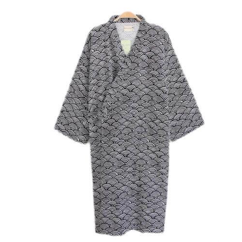Japanese Style Men Thin Cotton Bathrobe Pajamas Kimono Skirt Gown-A08