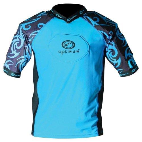 Optimum Razor Kids Rugby Body Protection Shoulder Pads Cyan/Black