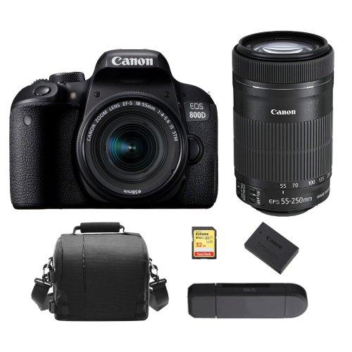 CANON800D 18-55mm IS STM+EF-S 55-250mm+32Gcard+Bag+Battery+Card Reader