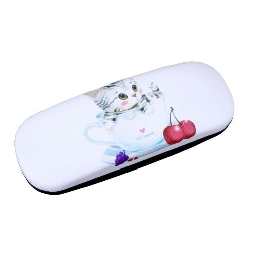 PU Leather Hard Shell Eyeglass Case Glasses Storage Case Protective Case for Glasses Cute Cat - 14