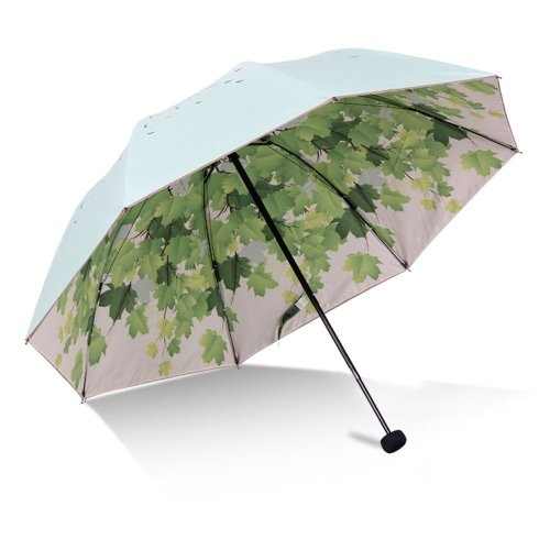 Green Tree Leaf Folding Travel Sun Umbrella Sunblock Uv Protection Upf 50 Rain Resistant Compact Size Parasol Fold Into Purse On