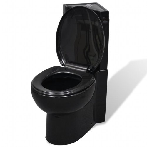 vidaXL WC Ceramic Bathroom Corner Toilet Black Soft-close Seat Water Saving