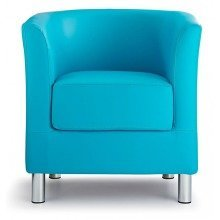 Sagony Designer Modern Tub Chair Aqua Blue Padded Seat Chrome Legs