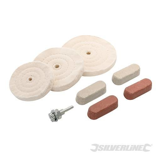 Silverline Polishing & Buffing Kit 8pce 100, 125 & 150mm - 100 351903 -  polishing buffing kit 8pce silverline 100 125 150mm 351903