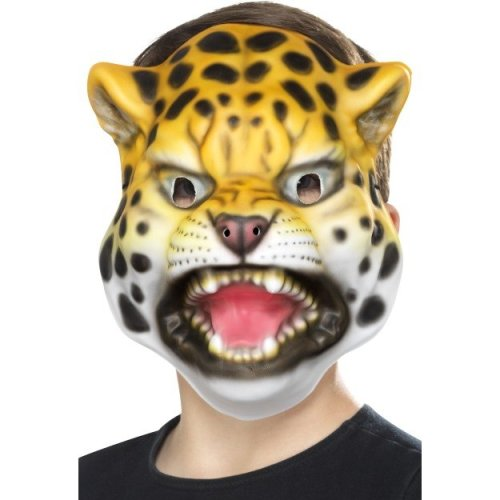 Leopard Face Mask -  animal fancy dress mask accessory face childrens jungle kids childs boys girls dog bird monkey shark tiger fask safari leopard