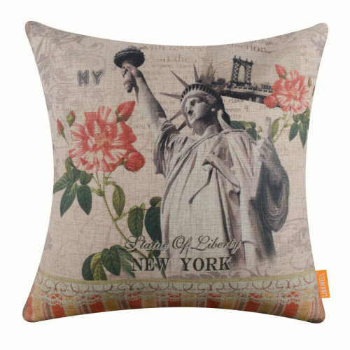"""18""""x18"""" New York Statue of Liberty Burlap Pillow Cover Cushion Cover"""