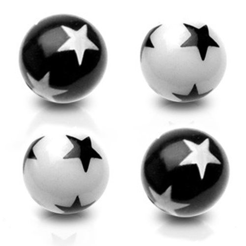 Urban Male Pack of Four UV Acrylic Star Threaded Colour Balls 1.6mm