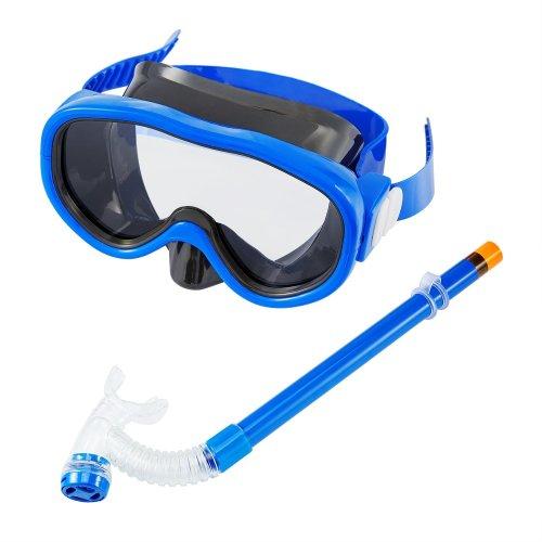 Kids Children Snorkel Set Swimming Goggles Semi-dry Snorkel Equipment for Boys and Girls Junior Snorkeling Gear Age 5 Plus Blue