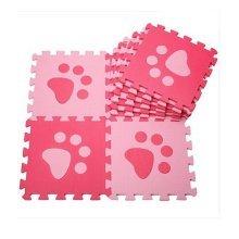 Interlocking Foam Mats EVA Foam Floor Mats (10 Tiles) Pink Footprints