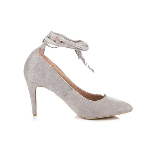 Womens Vices Court High Heels Ankle Strap Pointed Toe Stiletto Grey Shoes