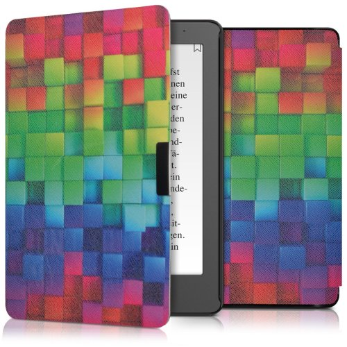 kwmobile Case for Kobo Aura Edition 2 - Book Style PU Leather Protective e-Reader Cover Folio Case - Multicolor Green Blue