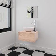 vidaXL Four Piece Bathroom Furniture Set with Basin with Tap Beige