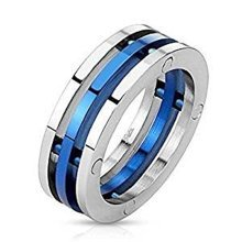 Blue Plated Centered 3 Band Bio Mechanical Combination 7.5mm Width Stainless Steel Ring