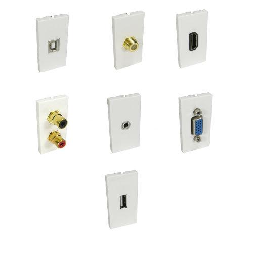AV Modules Black or White 50x25mm CAT5/CAT6/TELEPHONE/HDMI/SVGA/USB/AERIAL/SATELLITE/BLANK/BANANA