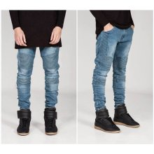 UK Mens Stretched Fold Skinny Biker Jeans Frayed Slim Fit Denim Pants Trousers