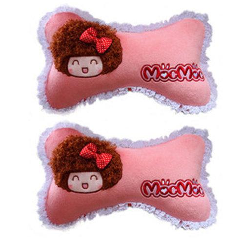 Set of 2 Female Favourite Car Neck pillow/Dog Bone neck pillow,(Mocmoc)Pink
