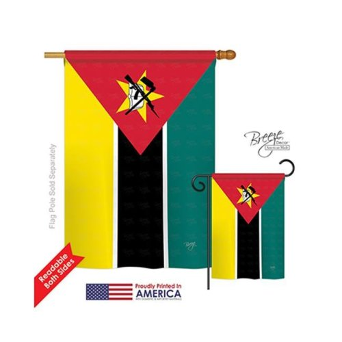 Mozambique 2-Sided Vertical Impression House Flag - 28 x 40 in.