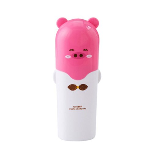 Lovely Cartoon Pig Toothbrush Holder Pencil Vase Brush Holder Storage Box, PINK