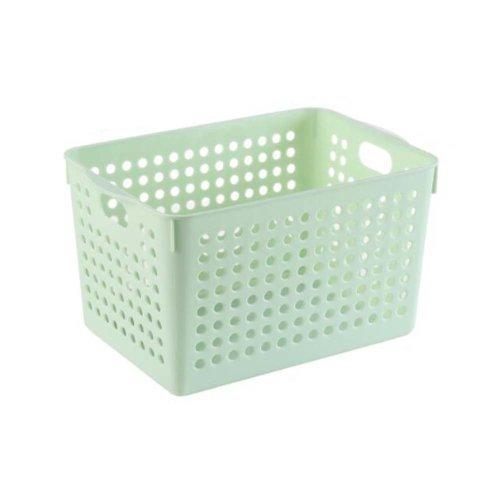 Plastic Storage Organizing Basket Closet Shelves Organizer Bins Set of 2 ?Green?