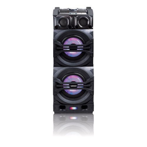 Lenco PMX-350   Portable DJ Mixer Bluetooth Speaker System  with up to 12 hours Playtime, Handle with Wheels includes Wireless Microphone