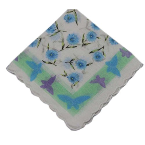 3 Pcs Retro Floral Print Handkerchiefs Ladies Cotton Pocket Handkerchief, #05