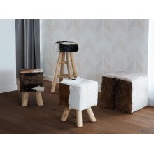 Stool - Ottoman - Footstool - Cow Design - Teak - Leather - DALTON