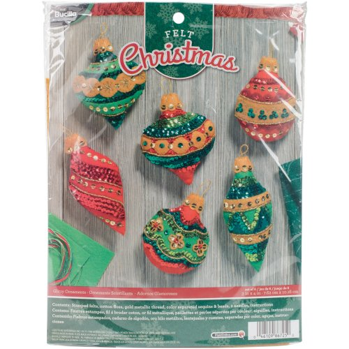 """Bucilla Felt Ornaments Applique Kit 3""""X4"""" Set Of 6-Glitzy"""