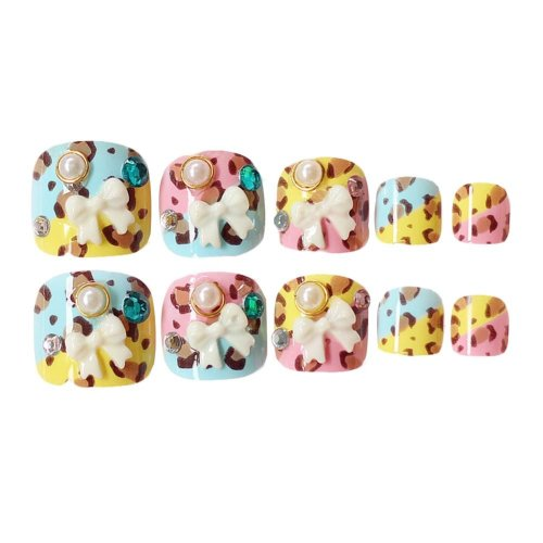 2 Box Colorful Leopard Print False Toenails Full Cover Artificial Nails Tips