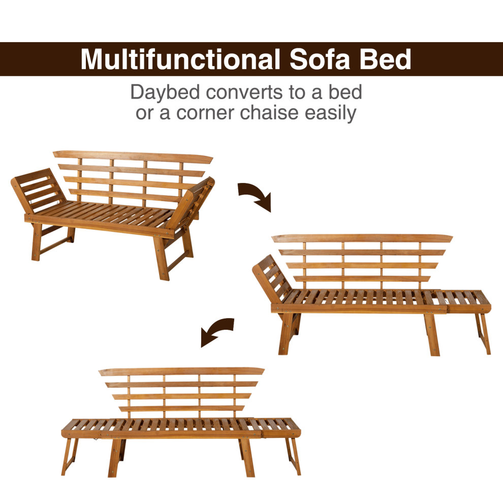 Outsunny 3 In 1 Folding Daybed Sofa Bench Acacia Wood