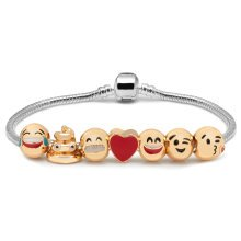 Ladies 3D Emoji Fun Face Charms Bracelet Funny 18K Gold Plated Gift Bag Luxury[7]