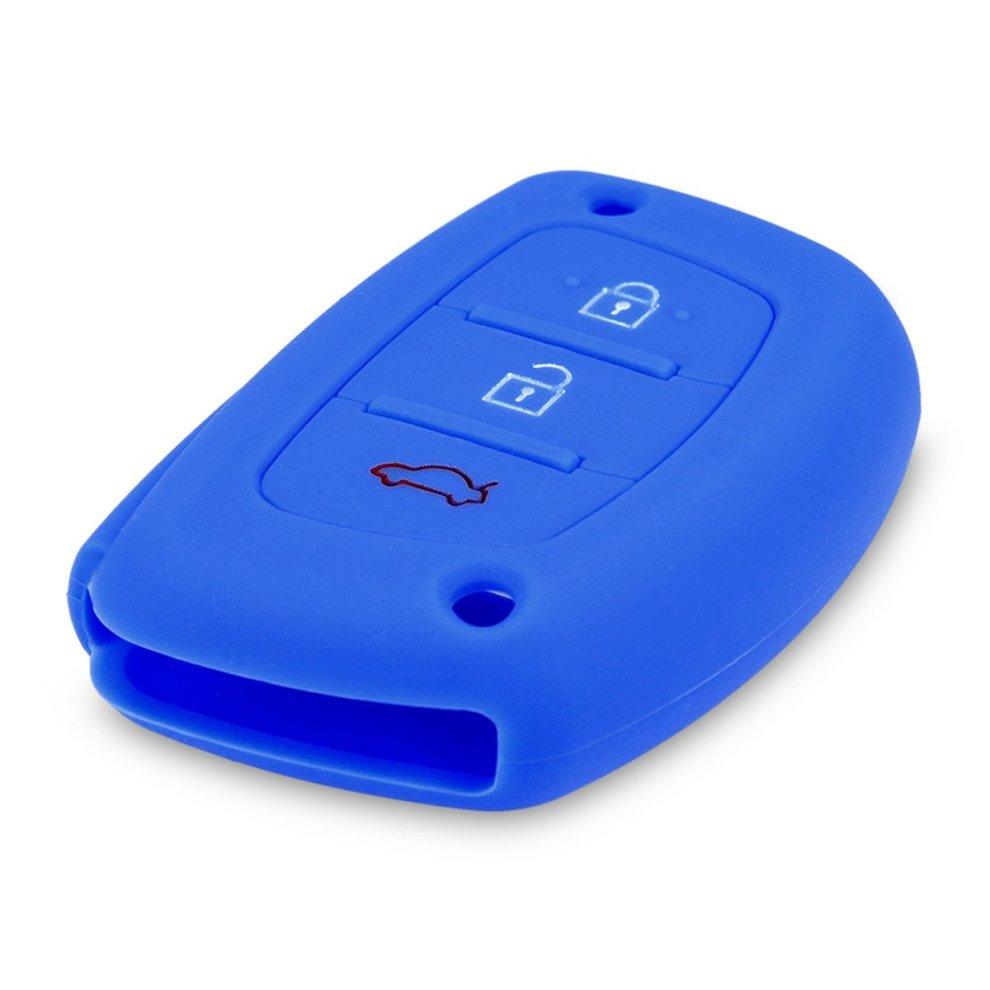 kwmobile Hyundai Kia Car Key Cover - Silicone Protective Key Fob Cover for  Hyundai Kia 3 Button Car Key Keyless Go - Blue
