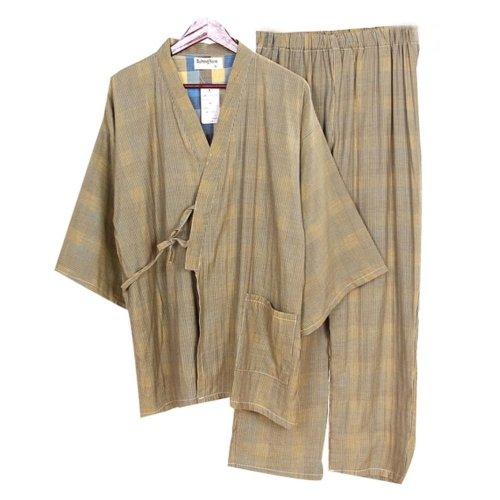 Khan Steamed Clothes Cotton Pajamas Suit  Men's Kimono Pajamas,Yellow Stripes