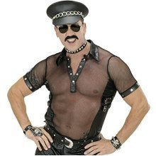 "Mens Blk Net & Leatherlook T - Shirts Man Size Costume Medium Uk 40/42"" For 80s -  net biker fancy dress top leather look village people plus size"