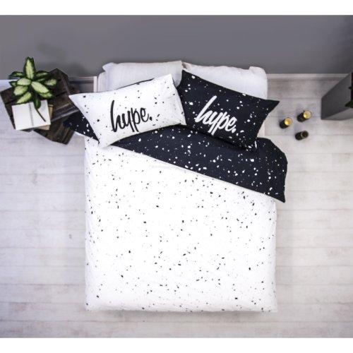 HYPE Duvet Cover Bedding Set | White & Black Speckle Coloured Design With Matching Pillow Cases | Hi Definition Print | 100% Cotton Super Soft...